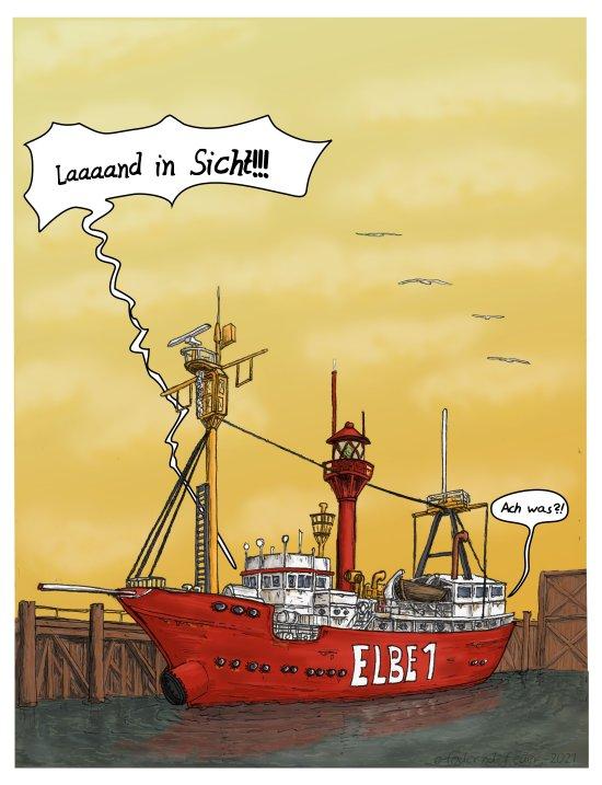 Land in sicht. Ein Schiff im Hafen. Wo es wohl liegen wird.