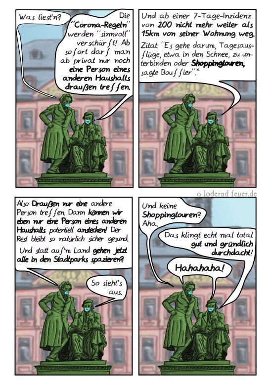 Die Brüder Grimm halten die aktuellen Corona Ansagen unsinnig.
